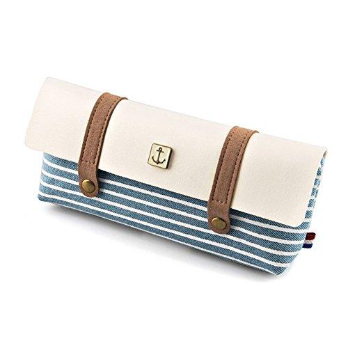 Lucky sarà, in tela, stile Vintage, colore: blu Navy a strisce-Astuccio per cosmetici, trucchi Penna sacchetto Borsa porta-penna