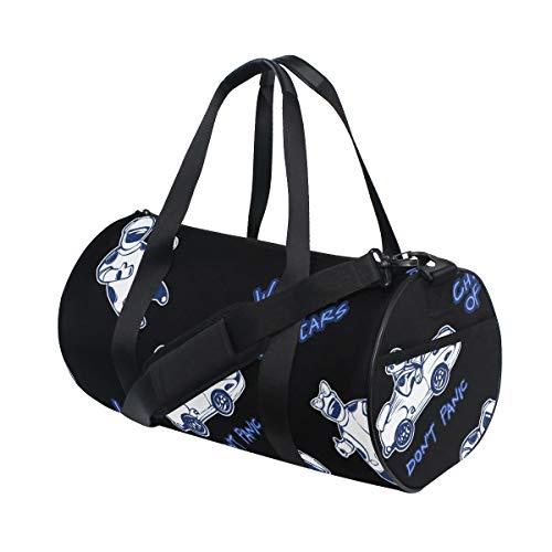 ZOMOY Sporttasche,Kosmisches Elektroauto,Neue Bedruckte Eimer Sporttasche Fitness Taschen Reisetasche Gepäck Leinwand Handtasche