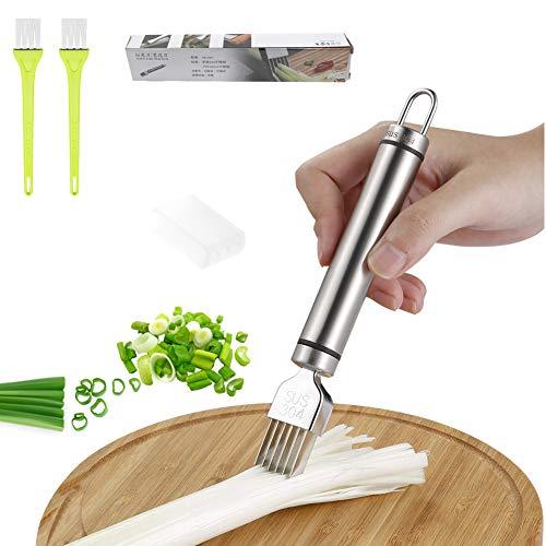 BITEFU Scallion Slicer Cortador de Onion de acero inoxidable, cuchillo de seda para cocina, pelador de verduras, frutas, cebollas primaverales