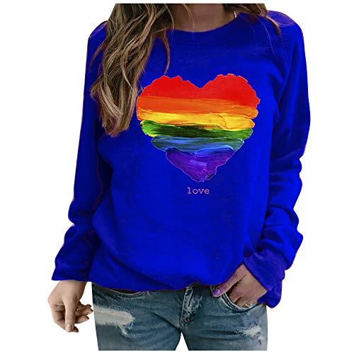 YANFANG Sudadera sin Capucha para Mujer, Moda Mujer Manga Larga Amor con Estampado de corazón de Color sólido Sweatershirt Blusa Suelta Tops, Blue,M