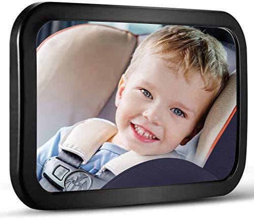 opamoo Rücksitzspiegel für Baby Autospiegel Bruchsicherer Rückspiegel Baby mit großem Sichtfeld 360°schwenkbar Spiegel Auto Baby Universeller Rücksitzspiegel Baby Spiegel ohne Einzelteile/Schrauben