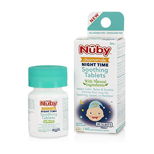Nuby Night Time Chamomile Soothing Tablets, Quick Dissolve, 140Count
