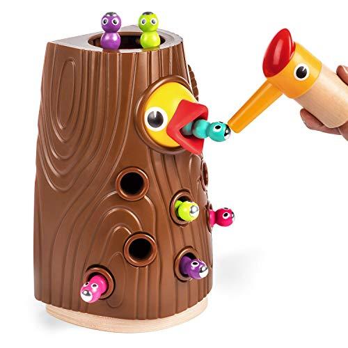 TOP BRIGHT Lernspielzeug ab 2 Jahren Jungen und Mädchen Geschenke, Feinmotorik Spiele Montessori Spielzeug, Magnetisches Spielzeug Kinder Wurm fangen Spiel