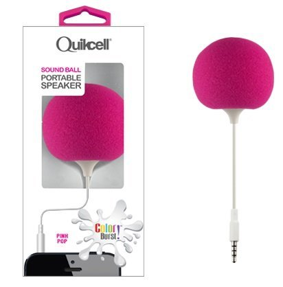 Quikcell Color Burst Sound Ball Portable Speaker with Flexible Cord and Built in Rechargeable Battery-Pink
