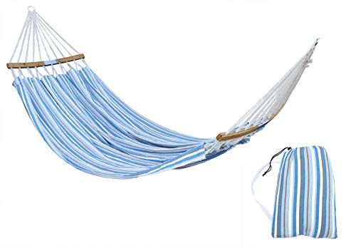 HENG FENG Brazilian Double Hammock 2 Person Cotton Fabric Hammock with Curved Bamboo Spreader Bars and Carrying Bag for Patio Porch Garden Backyard Outdoor and Indoor Use Sea Salt
