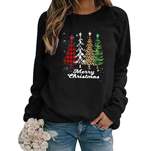 Pull de Noel Sapin Femmes Pull Noël Femme Grande Taille Ugly Christmas Jumper Pull Moche Noel Femme Drole Pullover Moche Sweat Noel Pulls Moches de Noel Sweatshirt Pull Over Noel Sweat-Shirt Noir S