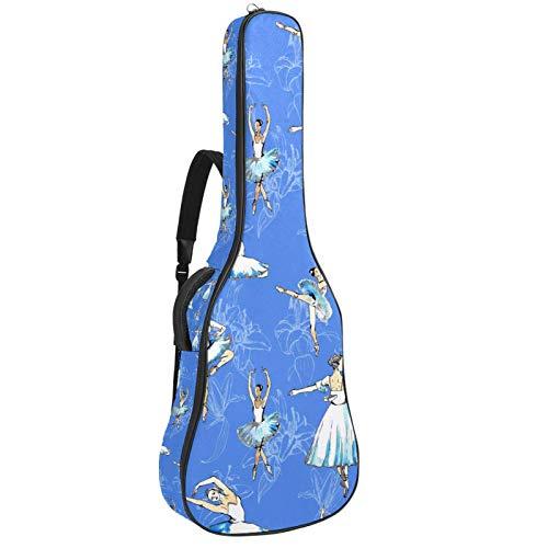 Bolsa para guitarra eléctrica con diseño de bailarina azul y correa acolchada...