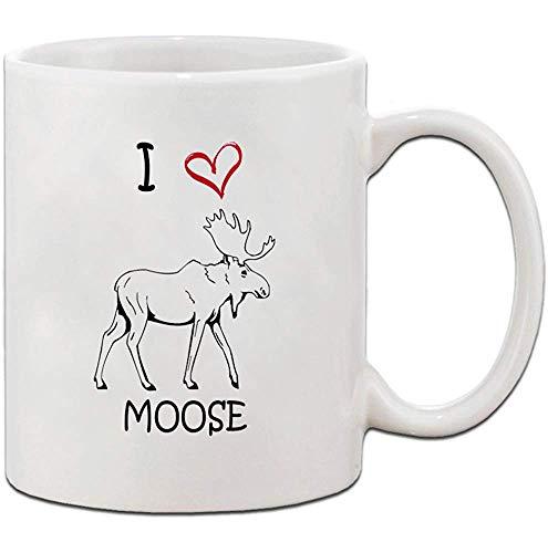 Amo el corazón MOOSE Taza de té de café de cerámica Taza 330 ml Pequeño regalo navideño para hombres y mujeres