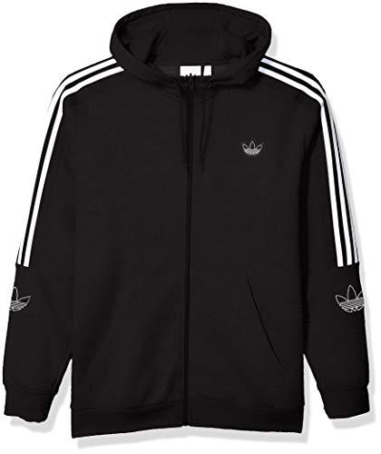 adidas Originals Men's Outline Fleece Full-Zip Hooded Sweatshirt, black, Medium