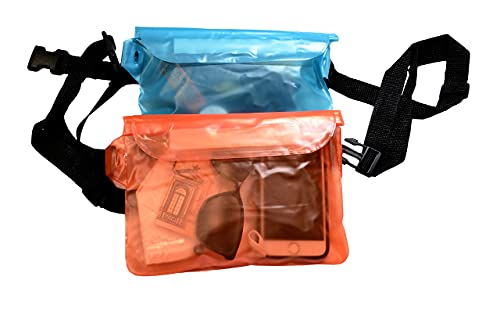 Riñonera Impermeable (2 Unidades) con Correa Ajustable, Bolsa estanca, Waterproof, Ideal para Deportes acuáticos y Deportes invernales de montaña, Unisex