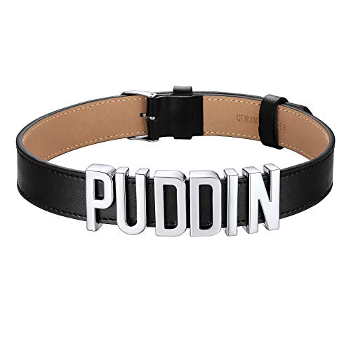 FOCALOOK Puddin Leather Choker Necklaces for Women Comics Suicide Squad Harley Quinn Gothic Black Collar Choker Adjustable 37-44 cm (Silver)