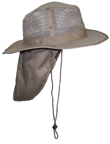 Tropic Hats Summer Wide Brim Mesh Safari/Outback W/Neck Flap & Snap Up Sides – Tan XL