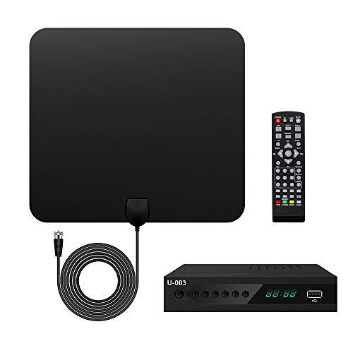 UBISHENG Digital TV Converter Box with Antenna, 1080P ATSC Converters with PVR Recording&Playback, HDMI Output, Timer Setting LED HDTV Set Top Box