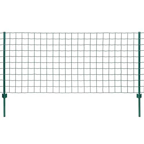 Zäune Metallzaun Set, Teichzaun, Metall, Gartenzaun, Freigehege, Gitterzaun, robust und langlebig, 20 x 0,8 m Stahl Grün, Maschenweite: 76 x 63 mm
