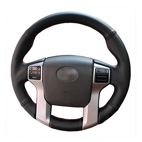 Loncky Black Genuine Leather Custom Fit OEM Car Steering Wheel Cover for 2012-2020 Toyota...