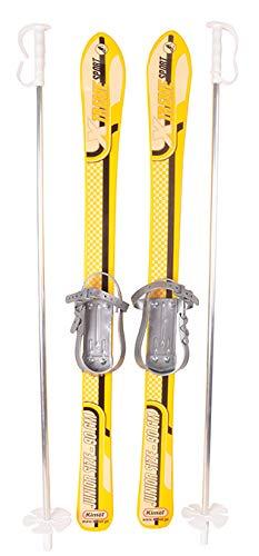 SKI Skier Kinder BINDUNG + Stöcken Kinder-SKI Kunststoff 3 Farben 90 cm (Gelb)