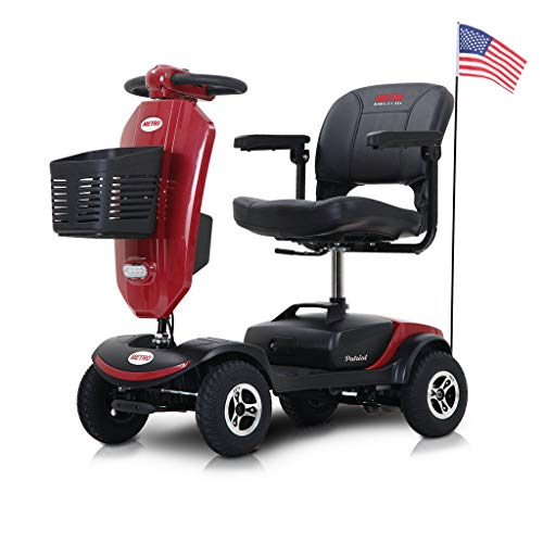 Metro Mobility Electric Mobility Scooter with 9 Inch Big Pneumatic Tires - Foldable Tiller with Cup Holders & USB Charging Port - Compact for Travel - 4 Wheel Mobile for Adults/Seniors - Patriot Red
