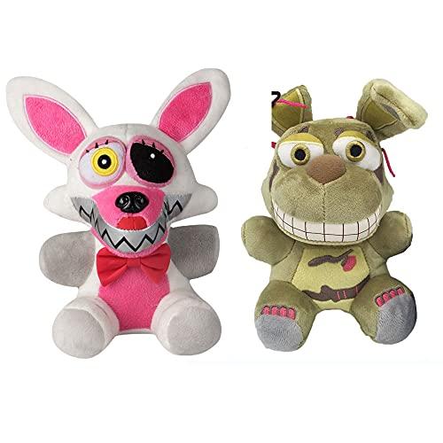 Five Nights at Freddy's,Plush Toys, Plush Doll Toys Children's Gifts (White Fox/Green Rabbit)