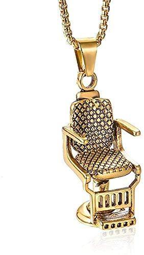 NC83 Edelstahl Friseursitz Anhänger Punk New Titanium Steel Man Persönlichkeit Drehstuhl Halskette-Gold-Farbe