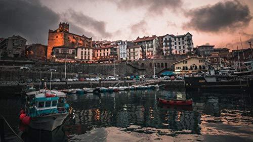 NOBRAND Rompecabezas De 1000 Piezas Pueblo Pesquero España Muelle Edificios Barcos Antigua para Adultos Adultos Adulto Hobby Decoración del Hogar DIY