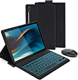 Jelly Comb Bluetooth Backlit Keyboard Case with 2.4 G + Bluetooth Mouse for Samsung Galaxy Tab S6 10.5, Removable Keyboard US Layout and Wireless Mice for Samsung Tab S6 T860 / T865 10.5, Black