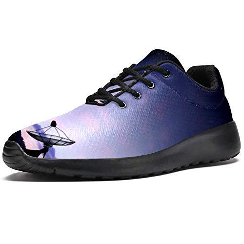 TIZORAX Laufschuhe für Herren, Sternenhimmel, Satelliten-Schüssel, modische Sneaker, Netzgewebe, atmungsaktiv, Mehrfarbig - mehrfarbig - Größe: 37 1/3 EU