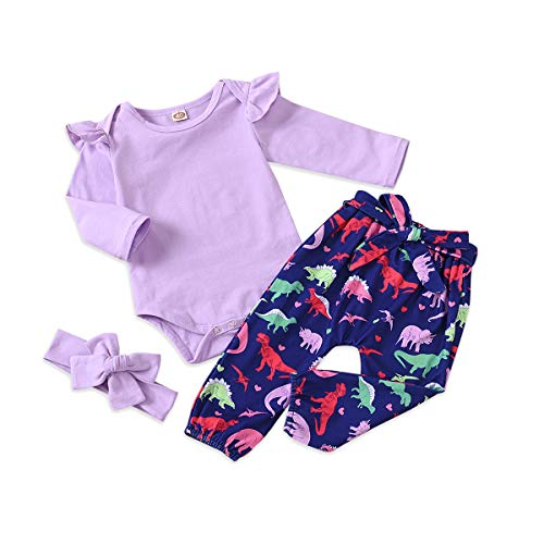Kids4ever Mädchen Babykleidung Set Newborn Birthday Outfit Gifts Romper Bodysuit with 3 Piece Langarm Strampler Tops Bunt Dinosaurier Pants and Cute Headband for 18-24 Months