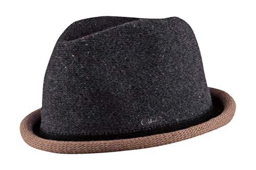 Feinzwirn FEINZWIRN Boston - moderner Trilby Hut in 4 Farben mit farbig abgesetzer Krempe - Top Qualität (grau-braun-S-M)