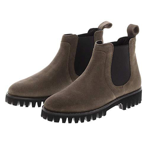 Barefoot Living x Sioux Damen Lunas Chelseas Leder Stiefeletten in Taupe - Coole Chelsea Boots Slip On Boots aus Kalbs-Veloursleder