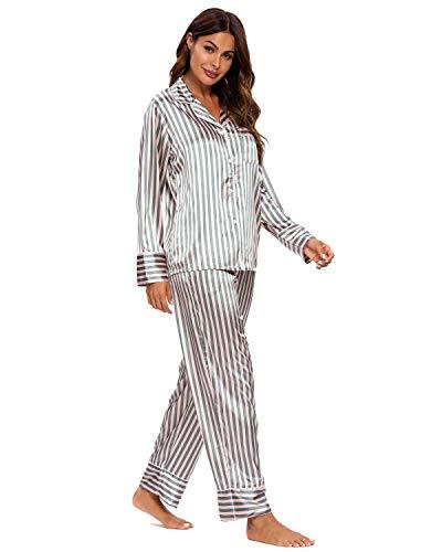 GOSO Pijama de satén para Mujer con Botones de Seda de Manga Larga y Pantalones Ropa de Dormir Conjuntos Pijama para Mujer