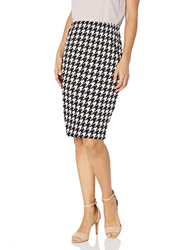 Star Vixen Women's Petite Below-Knee Pencil Skirt with Back Slit, Black/Ivory Houndstooth Print, PL