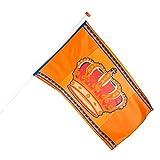 Boland 61815 - Dekorationsfahne Königstag, Größe 90 x 150 cm, Holland, Niederlande, Krone, Flagge, Polyester, Banner, Wanddekoration, Feiertag, Mottoparty, Koningsdag