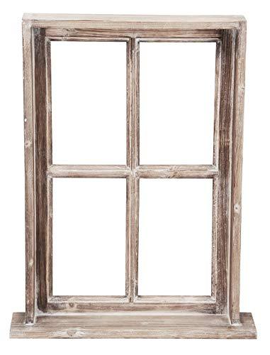 Posiwio Deko-Fenster Fensterrahmen mit Rahmen und Ablagebrett Holz im Landhausstil braun Shabby