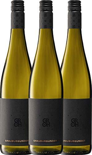 VINELLO 3er Weinpaket Weißwein - Grauburgunder 2020 - Groh mit Weinausgießer | trockener Weißwein | deutscher Sommerwein aus Rheinhessen | 3 x 0,75 Liter