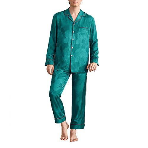 SZTB Pijama Seda para Hombre 100% Seda Primavera Verano Otoño Invierno Pantalones de Manga Larga Conjunto Ropa para el hogar Regalo del Día del Padre,04,XL