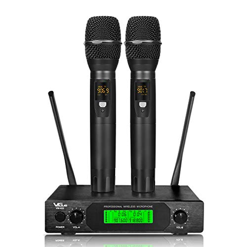 UHF Wireless Microphone, Professional Dual Channel Handheld Wireless Mic System with 2 mics, 200 ft Long Range,Ideal for Karaoke, Church,Weddings, Events