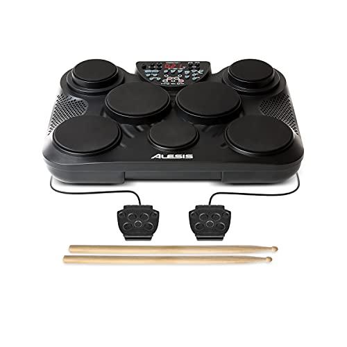 Alesis CompactKit 7 - Batería Electrónica de Sobremesa de 7 Pads Sensibles a la Velocidad, 265 Sonidos y Melodías de Percusión, Salida USB-MIDI, Pedales y Baquetas incluidas