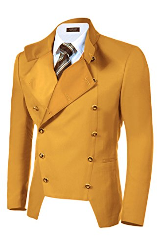 COOFANDY Men's Casual Double-Breasted Jacket Slim Fit Blazer (XX-Large, Yellow)
