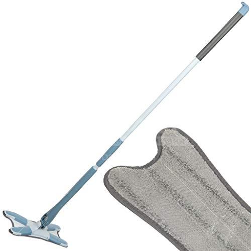 Daniks BOSS CLEAN Selbstwringende Bodenflachmops mit 2 Ersatzkopf aus Mikrofaser, Mikrofaser Wischmopp mit 360° drehbarem Kopf, für alle Bodenarten