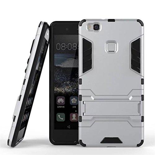 Cover Huawei P9 Lite, Yoowei® [Rugged Armor] Kickstand Series Ultra Sottile Shock-Absorption Anti-Graffio 2 in 1 Ibrido Rugged Duro PC + Morbido Gomma Silicone Case Cover Antiurto per P9 Lite, Rosso