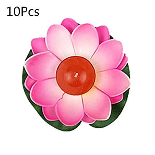 Shefii Lotus-Laterne, 10 Stück, mehrfarbig, Seide, schwimmende Kerzen, Pool-Dekorationen, Wunschlicht, Geburtstag, Hochzeit, Party-Dekoration, Baumwollmaterial, rose, as shown