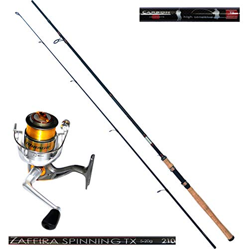 Angelset Steckrute Jaxon Zaffira Spinning TX 2,10m 5-20g Angelrolle 3000FD mit Schnur