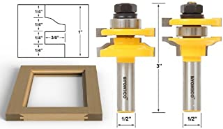 Yonico 12243 Ogee 2 Bit Rail and Stile Router Bit Set 1/2-Inch Shank
