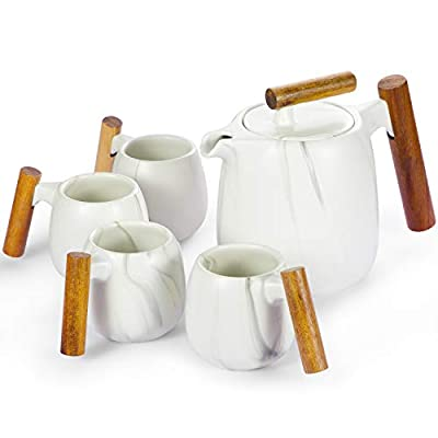 ROIMTEA Ceramic Teapot Set with 4 Matching Cups, Porcelain Tea Set for One with Removable Stainless Steel Infuser for Loose Leaf & Blooming Tea, 800ml/26oz Teapot, 150ml/5oz Cups, White