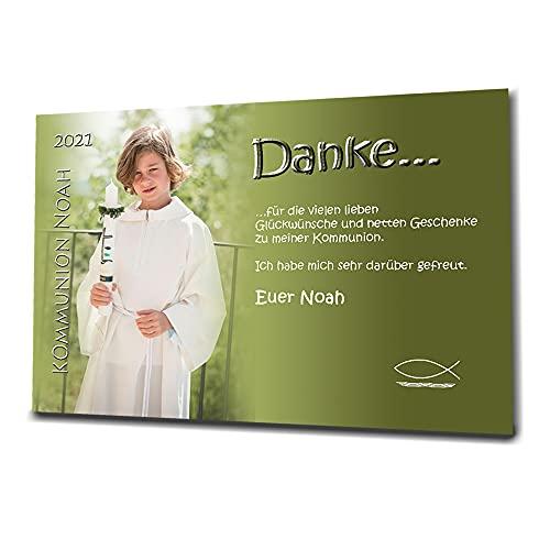 15 Individuelle Fotokarten als Danksagung, Danksagungskarte K65, Kommunion, Konfirmation, Jugendweihe im Format 10x15 cm inkl. hochwertigem farbigen C6 Umschlag