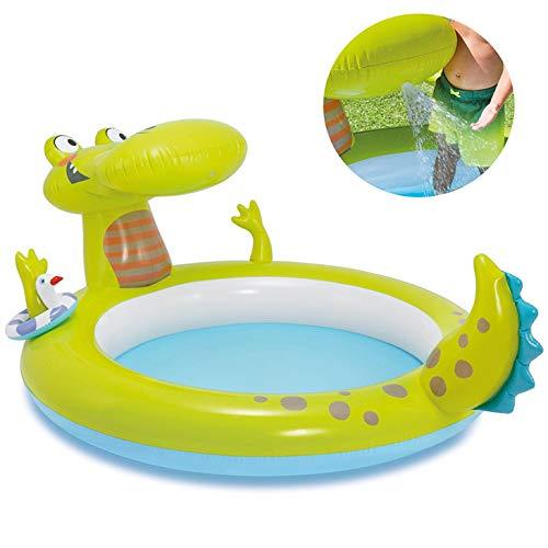 SYXZ Krokodilbrunnen Aufblasbarer Pool, Kinderrutschen-Planschbecken Faltbare Badewanne, geeignet für Garten im Freien,Grün