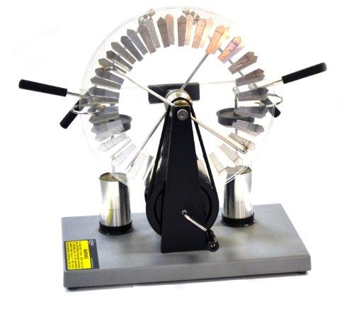 Eisco Labs Premium Wimshurst Generator, 15 cm hoch, bis 75.000 Volt, inkl. 2 Leyden Gläser