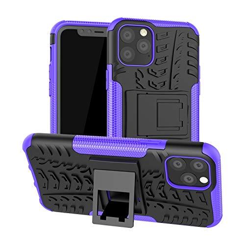 HULDORO Encantador -para la Textura del neumático Pro del iPhone 11 TPU + PC Funda a Prueba de Golpes con el Titular Carcasa de telefono (Color : Purple)