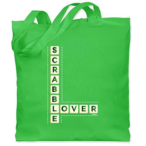 Shirtracer Scrabble Tasche - Scrabble Lover - Unisize - Hellgrün - Geschenk - WM101 - Stoffbeutel aus Baumwolle Jutebeutel lange Henkel