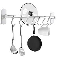 poprkdre porta utensili da cucina con 7 gancio, 40cm barra portautensili cucina,porta mestoli da cucina per gadget da cucina/pentola/mestolo, alluminio, argento opaco